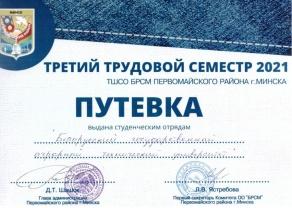 Путевка в III трудовой семестр 2021